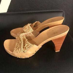 Stuart Weitzman leather mules heels sandals sz 6